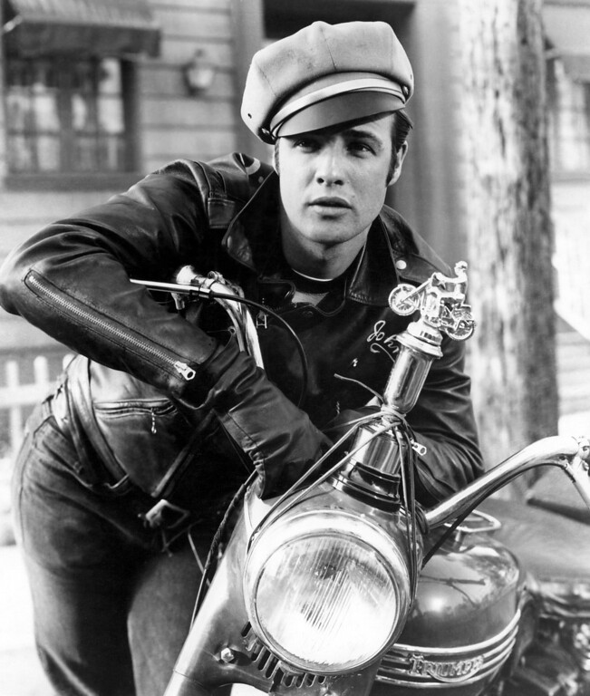 ". Marlon Brando appears in the Columbia Pictures 1954 film ""The Wild One.\"" (AP Photo/Turner Classic Movies)"