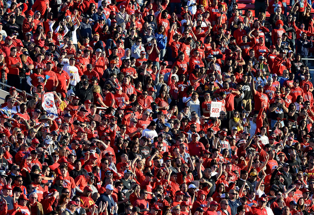 . LAS VEGAS, NV - DECEMBER 21:  Fresno State Bulldogs fans react during the team\'s game against the USC Trojans during the Royal Purple Las Vegas Bowl at Sam Boyd Stadium on December 21, 2013 in Las Vegas, Nevada. USC won 45-20.  (Photo by Ethan Miller/Getty Images)