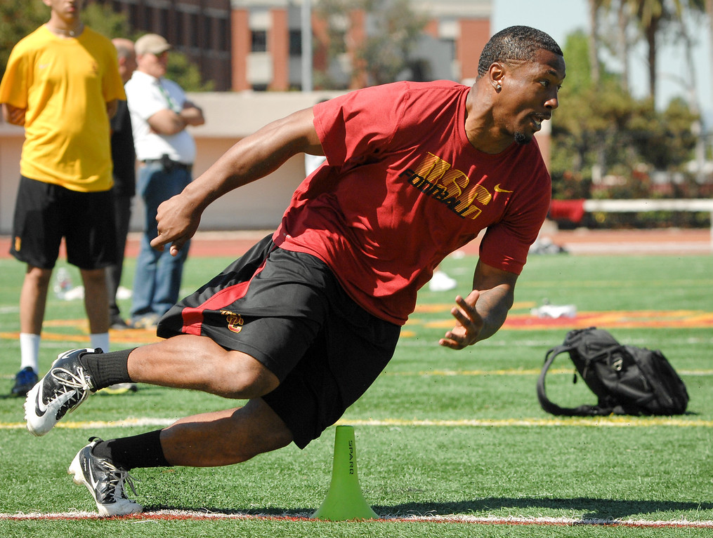 . Linebacker Marquis Simmons runs a drill at USC Pro Day, Wednesday, March 12, 2014, at USC. (Photo by Michael Owen Baker/L.A. Daily News)