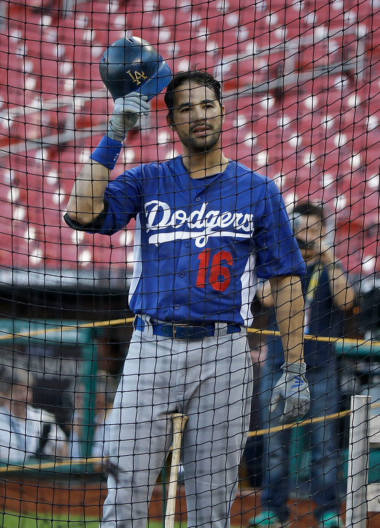. Los Angeles Dodgers\' Andre Ethier waits to bat before Game 1 of the National League baseball championship series against the St. Louis Cardinals, Friday, Oct. 11, 2013, in St. Louis. (AP Photo/Charlie Neibergall)