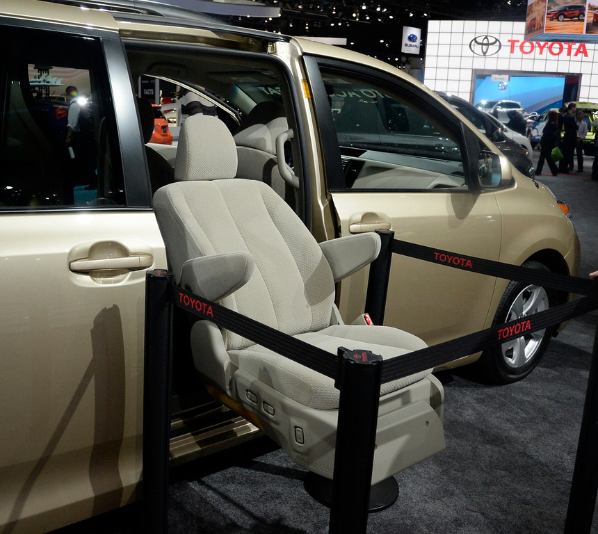 . Nov 22,2013 Los Angeles CA. Toyota new  2014 Sienna van that offers the new auto access seat The show opens to the public today Friday and runs through Dec 1st.  Photo by Gene Blevins/LA Daily News