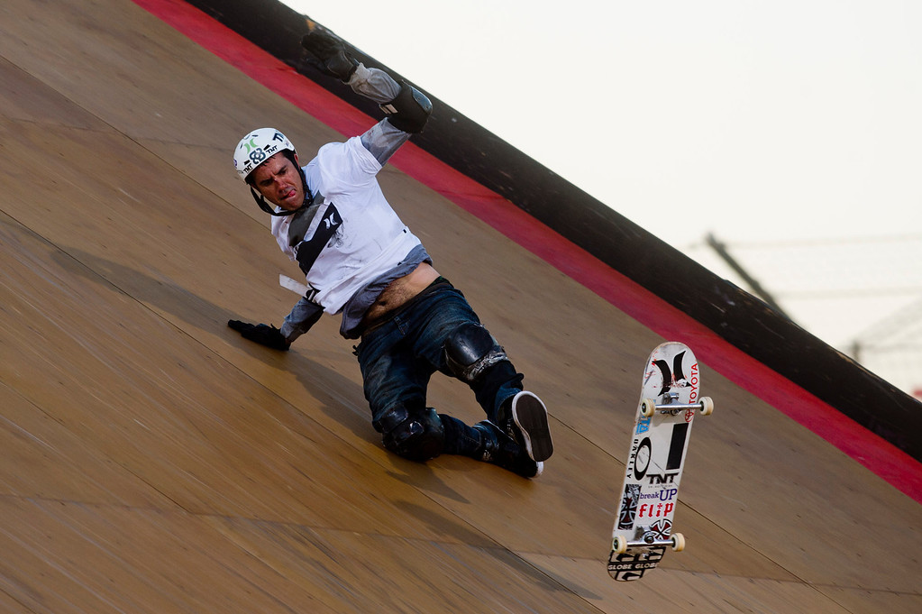 . Bob Burnqui falls during the America\'s Navy Skateboard Big Air final during X Games Los Angeles at Irwindale Event Center in Irwindale on Thursday, August 1, 2013. (SGVN/Staff photo by Watchara Phomicinda)