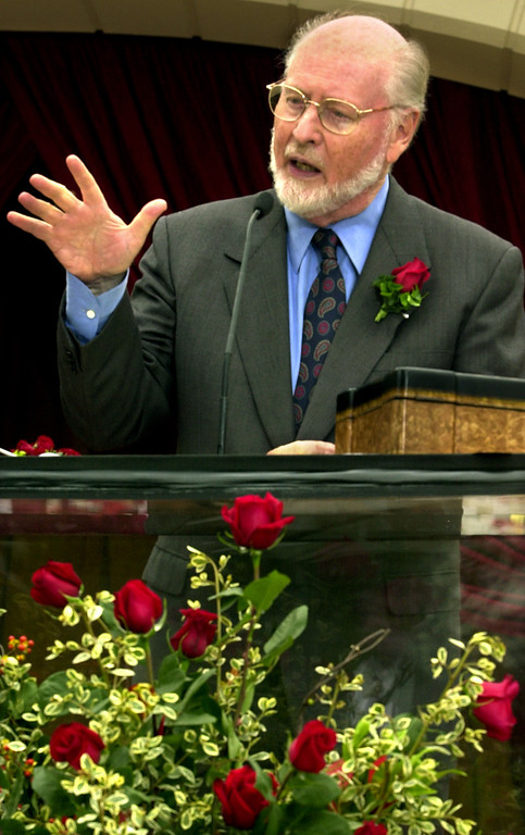 . John Williams speaking at Tournament House in Pasadena.  John Williams will  conduct 2004 Tournament of Roses as Grand Marshal, themed Music Music Music. As Grand Marshal John Williams will represent Music Music Music to a worldwide television viewership as he rides in the 115th Rose Parade, and he tosses the coin before the 90th Rose Bowl Game  on January 1, 2004. (PHOTO BY WALT MANCINI/Pasadena Star News)
