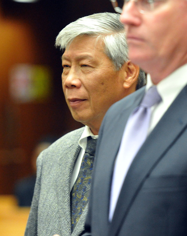 . Retired Irwindale Finance Director Abe De Dios, who has been charged with embezzlement, misappropriation of public funds and conflict of interest, appear in court to postpone their arraignment at the Clara Shortridge Foltz Criminal Justice Center in Los Angeles on Wednesday January 29, 2014. They will next appear on February 27th. (Staff Photo by Keith Durflinger/San Gabriel Valley Tribune)