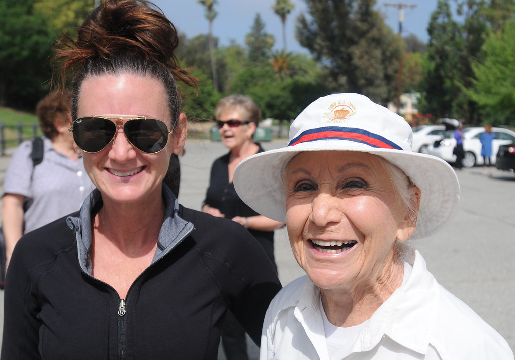 . Ta\'Mara Aarin and Anne Bedrosian celebrated Anne\'s 90th birthday with a 2.5 mile hike at Serrania Park in Woodland Hills on Thursday, June 13, 2013.  (Dean Musgrove/Los Angeles Daily News)