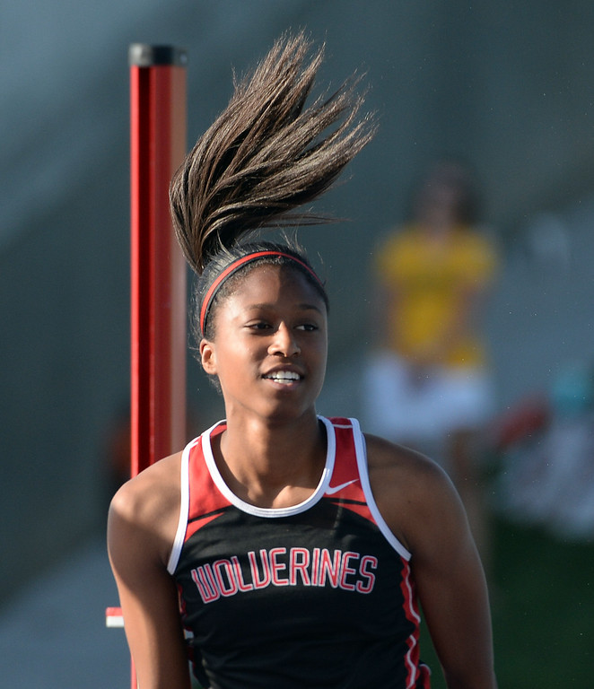 . Harvard Westlake\'s Alexandria Florent competes in the high jump during the CIF California State Track & Field Championships at Veteran\'s Memorial Stadium on the campus of Buchanan High School in Clovis, Calif., on Saturday, June 7, 2014. 