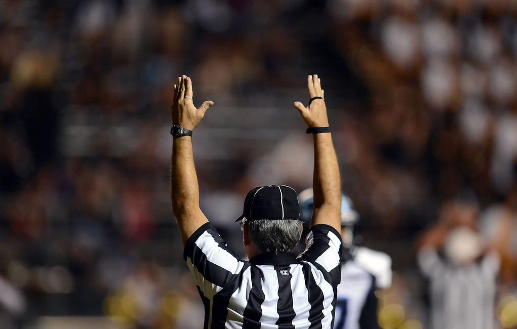 . Duarte touchdown against Bassett in the first half of a prep football game at Bassett High School in La Puente, Calif., on Friday, Nov. 1, 2013.    (Keith Birmingham Pasadena Star-News)