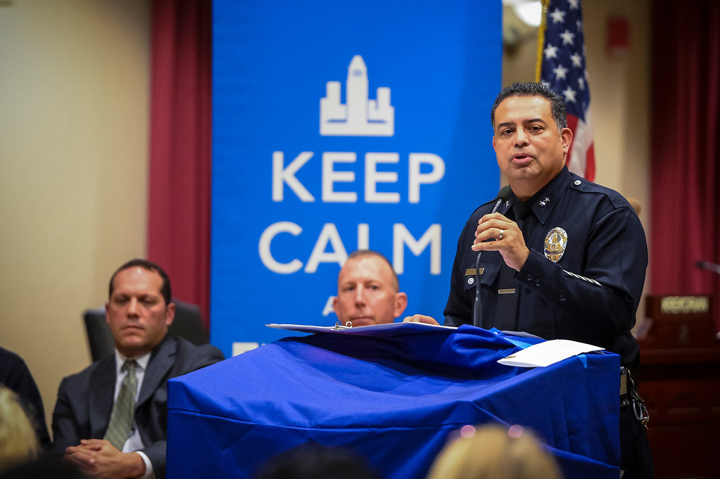 . Jorge Villegas, LAPD Chief, Valley Bureau, speaks to members of Empower LA and Neighborhood councils at Van Nuys City Hall on January 29, 2013.   (Photo by David Crane/Los Angeles Daily News)