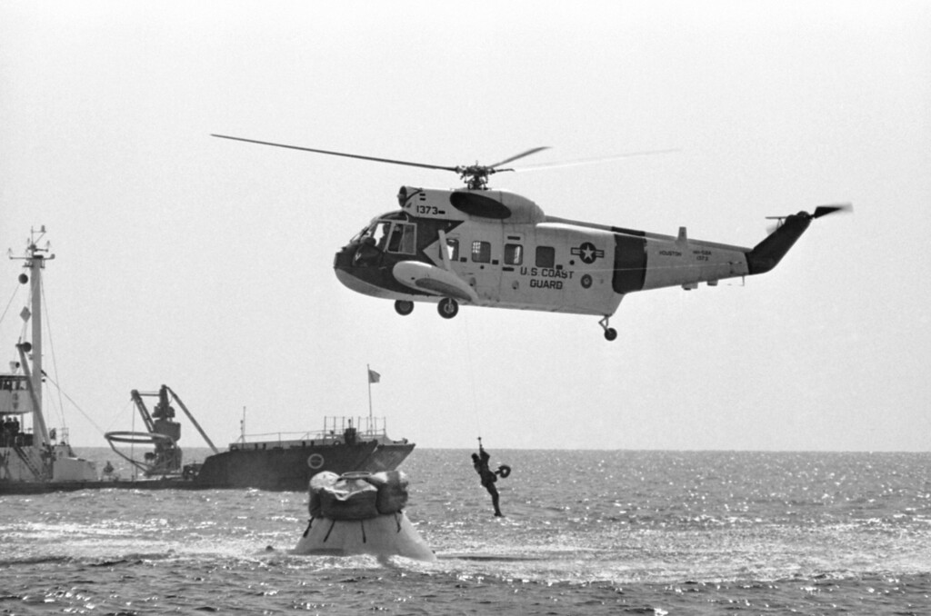 . Astronaut Edward H. White II as he is lifted aboard a Coast Guard helicopter for the trip back to the Houston Manned Spacecraft center on Oct. 27, 1966. White along with Astronauts Virgil I. Grissom and Roger B. Chaffee were training on emergency procedures in leaving the Apollo spacecraft in the water. The training session took place about 5-miles off shore from Galveston, Texas. (AP Photo/Ed Kolenovsky)