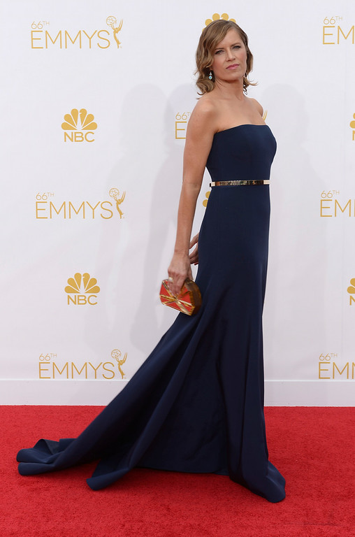 . Actress Kim Dickens on the red carpet at the 66th Primetime Emmy Awards show at the Nokia Theatre in Los Angeles, California on Monday August 25, 2014. (Photo by John McCoy / Los Angeles Daily News)