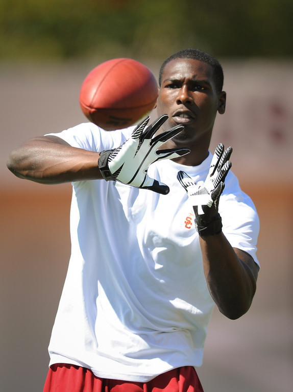 . Marqise Lee warms up at USC Pro Day, Wednesday, March 12, 2014, at USC. (Photo by Michael Owen Baker/L.A. Daily News)