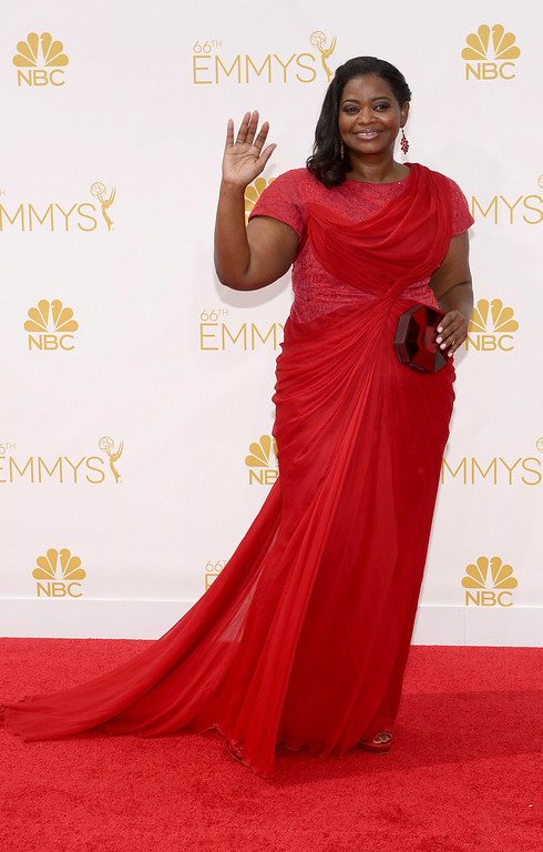 . Octavia Spencer on the red carpet at the 66th Primetime Emmy Awards show at the Nokia Theatre in Los Angeles, California on Monday August 25, 2014. (Photo by John McCoy / Los Angeles Daily News)