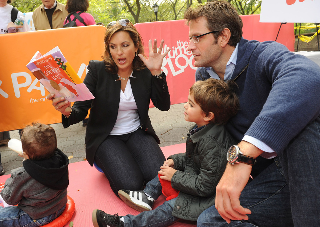 ". In this photo provided by Play for Tomorrow, actress Mariska Hargitay, her husband Peter Hermann and their son August, 4, help celebrate the ""Power of Play\"" at the first annual Ultimate Block Party that transformed New York�s Central Park, Sunday, Oct. 3, 2010, into an innovative and educational playground.  Play for Tomorrow is dedicated to shedding light on the crucial role of play in children�s development and learning.  (AP Photo/Play for Tomorrow, Diane Bondareff)"