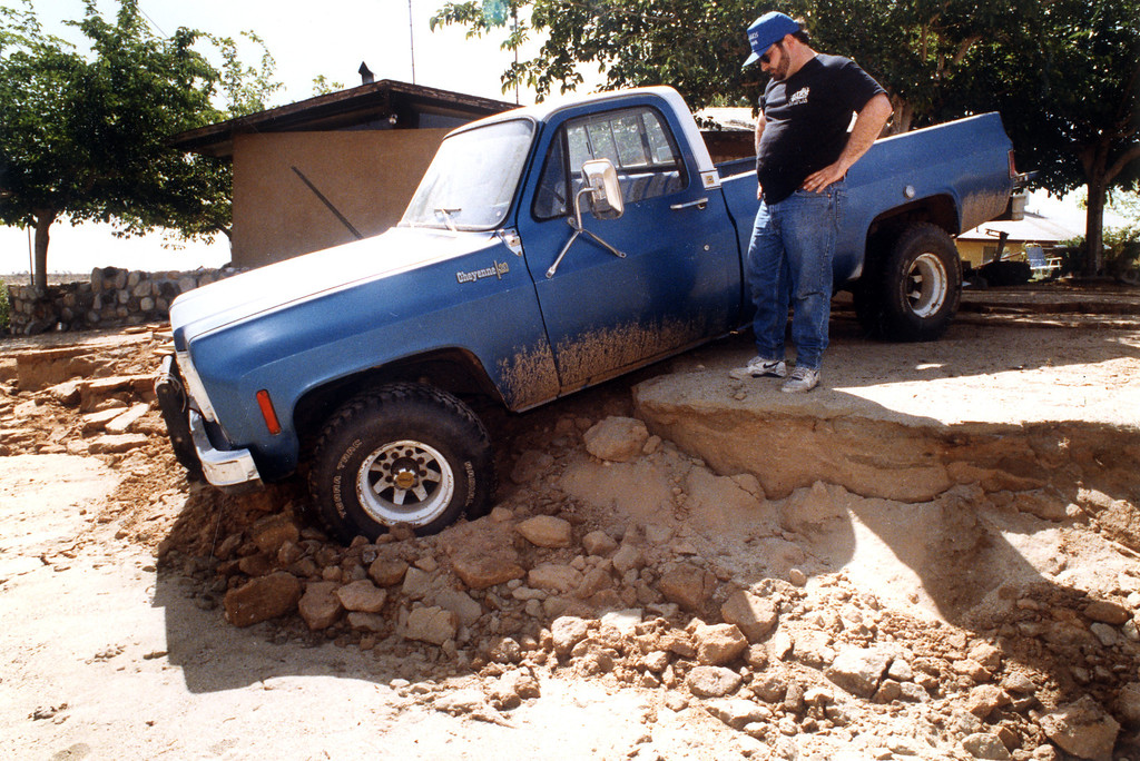 . June 28, 1992: The road collapsed under Rusty Kilkenny\'s truck in Flamingo.  Daily News file photo