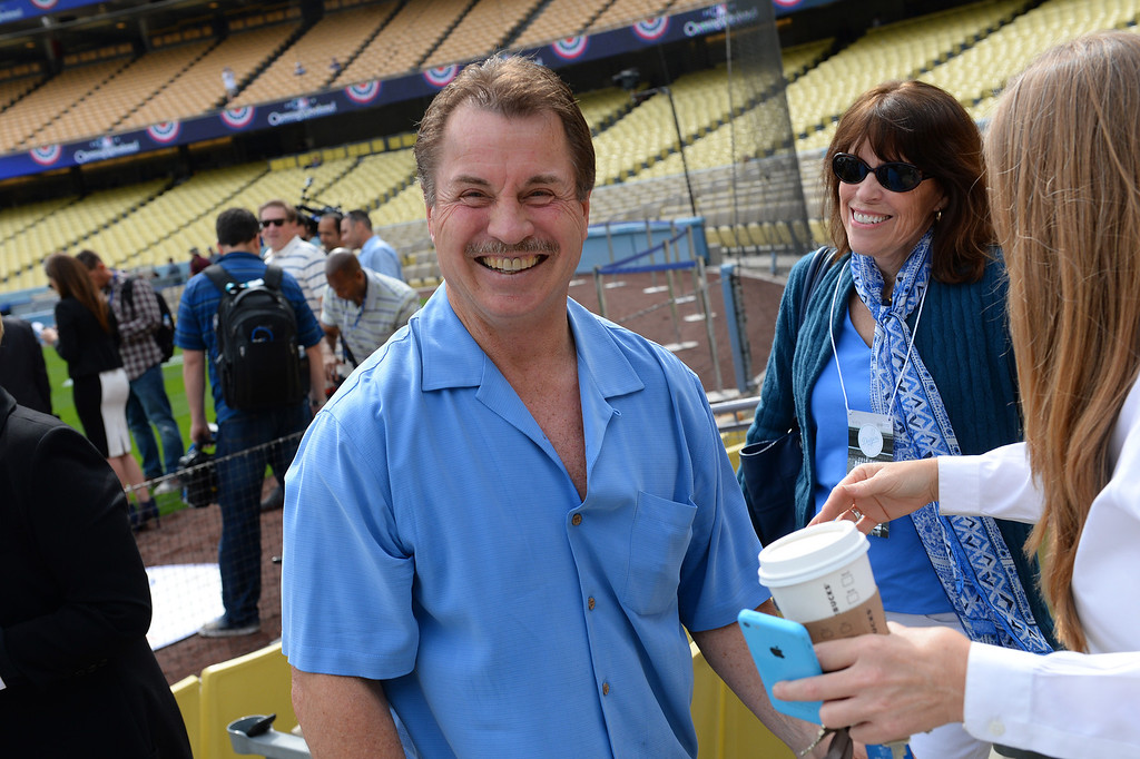 . Ex-Dodger Ron Cey talks with fans at opening day, Friday, April 4, 2014, at Dodger Stadium. (Photo by Michael Owen Baker/L.A. Daily News)