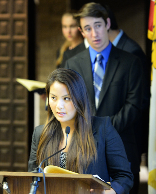 . La Mirada High School student Tatiana Tim speaks on electric vehicle charging stations during a mock council meeting as part of the annual Youth in Government event at La Mirada City Hall on Tuesday February 25, 2014. The students proposed the city install electric vehicle charging stations and add more services for seniors. (Staff Photo by Keith Durflinger/Whittier Daily News)