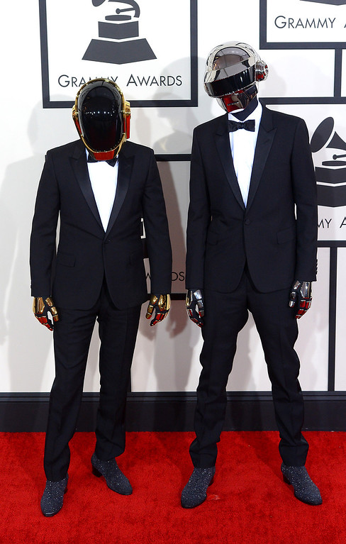 . Daft Punk arrives at the 56th Annual GRAMMY Awards at Staples Center in Los Angeles, California on Sunday January 26, 2014 (Photo by David Crane / Los Angeles Daily News)