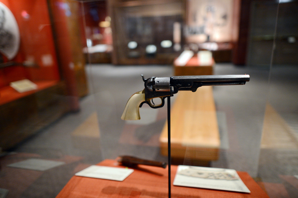 . A 1851 Colt Navy revolver on display at the Autry National Center in Los Angeles. Western Frontiers: Stories of Fact and Fiction inaugurates the Autry�s new Gamble Firearms Gallery and celebrates the gift of the George Gamble Collection, an incomparable selection of Western firearms and related materials. The exhibition explores the many roles guns have played in the history of the West, from the opening of the frontier in the late eighteenth century through television Westerns in the middle of the twentieth century. (Hans Gutknecht/Los Angeles Daily News)