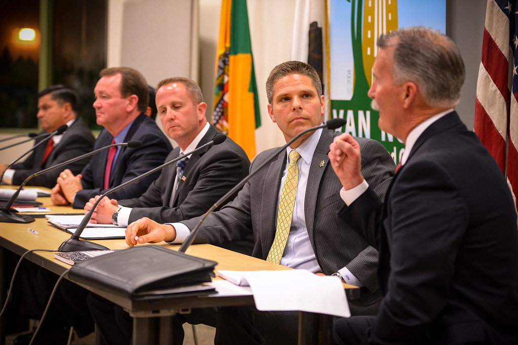 . L to R, Patrick Gomez, Jim McDonnell, Lou Vince, James Hellmold and Robert Olmsted, candidates for Los Angeles County Sheriff, attend a debate at the Van Nuys Neighborhood Council on Wednesday, March 12, 2014. Assistant Sheriff Todd Rogers did not attend, having already committed to participate in a live radio broadcast. (Photo by David Crane/Los Angeles Daily News)