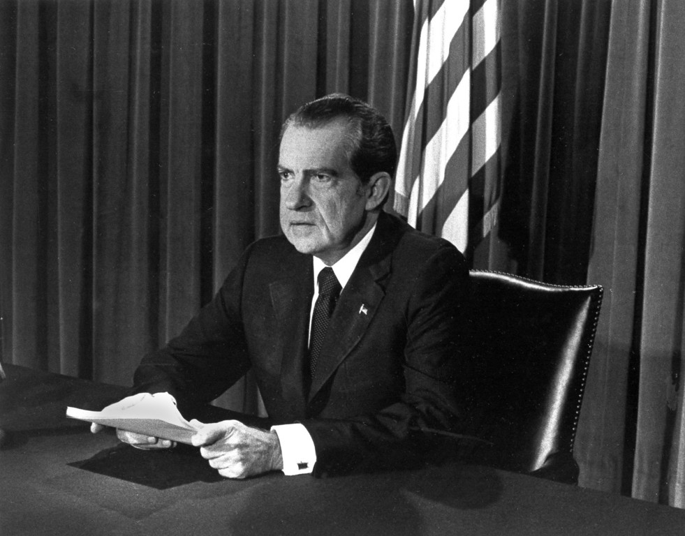 . In this White House Official Photo, President Richard Nixon during his televised broadcast as he announced in Washington on August 8, 1974, that he would resign the presidency. (AP Photo/White House)