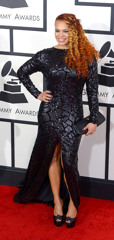 . Faith Evans arrives at the 56th Annual GRAMMY Awards at Staples Center in Los Angeles, California on Sunday January 26, 2014 (Photo by David Crane / Los Angeles Daily News)