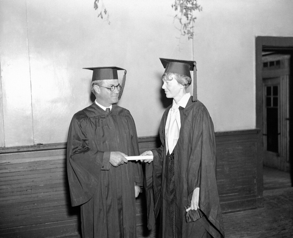 . Governor Eugene Talmadge of Georgia awarded a diploma, in the name of Oglethorpe University of Atlanta, to Amelia Earhart, May 26, 1935, making her a Doctor of public service in recognition of her advancement of aviation. (AP Photo/B I Sanders)