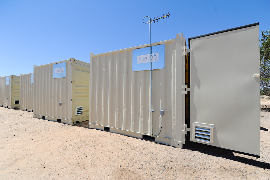 . PG&E whole house water filtration system built inside a unit wait to be deliver to residents in Hinkley, Calif. on Thursday, May 2, 2013. Sullivan leads the company\'s Hinkley remediation program. (Rachel Luna / San Bernardino Sun)