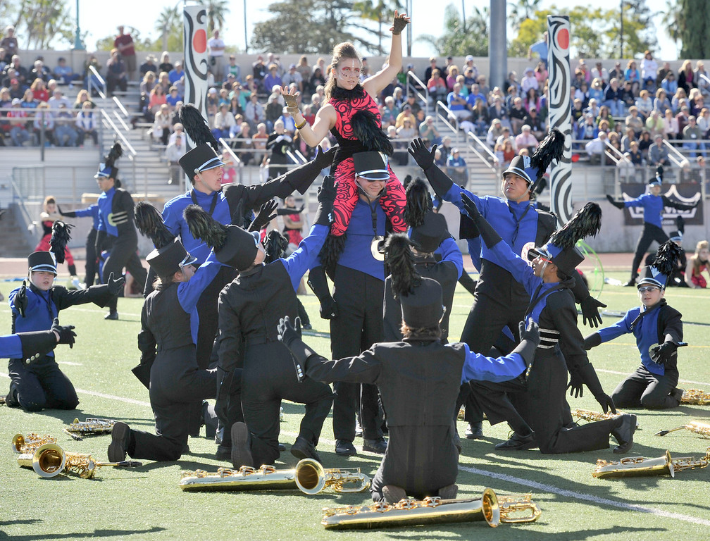 """. The Carmel High School \""""Marching Greyhounds\"""" from Carmel, Indiana performs during the 34th Annual Pasadena Tournament of Roses Bandfest at Pasadena City College on Monday December 30, 2013. (Staff Photo by Keith Durflinger/Pasadena Star-News)"""