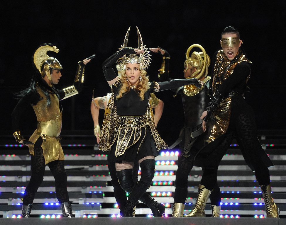 . INDIANAPOLIS, IN - FEBRUARY 5: Singer Madonna performs on the Bridgestone Super Bowl XLVI Halftime Show at Lucas Oil Stadium on February 5, 2012 in Indianapolis, Indiana. (Photo by Frank Micelotta/PictureGroup) via AP IMAGES