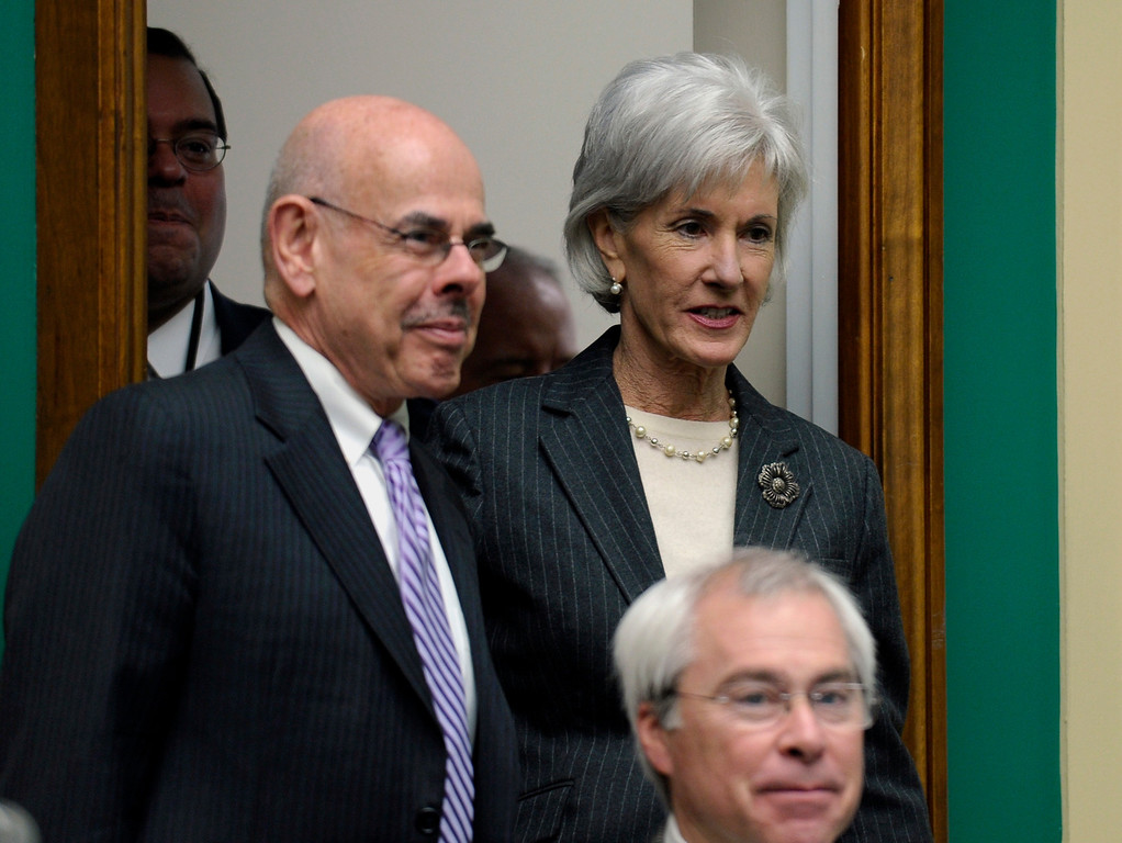 . Health and Human Services Secretary Kathleen Sebelius is escorted by Rep. Henry Waxman, D-Calif., ranking Democrat on the House Energy and Commerce Committee, as she arrives on Capitol Hill in Washington, Wednesday, Dec. 11, 2013, to testify before the committee\'s hearing on the implementation failures of the Affordable Care Act. Playing catch-up with a long way to go,   (AP Photo/Susan Walsh)