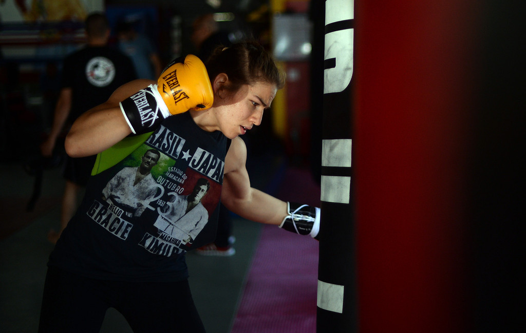 . MMA fighter Marina Shafir during a recent training session at Glendale Fighting Club. (Photo by Hans Gutknecht/Los Angeles Daily News)