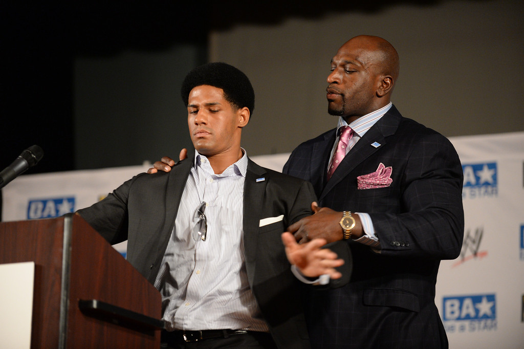 . WWE Superstars Darren Young, left, and Titus O\'Neil and The Creative Coalition launched the anti-bullying alliance, �Be a STAR� (Show Tolerance And Respect), to provide students with positive tools to prevent bullying in their schools and communities.  The mission of �Be a STAR� is to ensure a positive and equitable social environment for everyone regardless of age, race, religion or sexual orientation through education and awareness. Photo by Brad Graverson 8-15-13