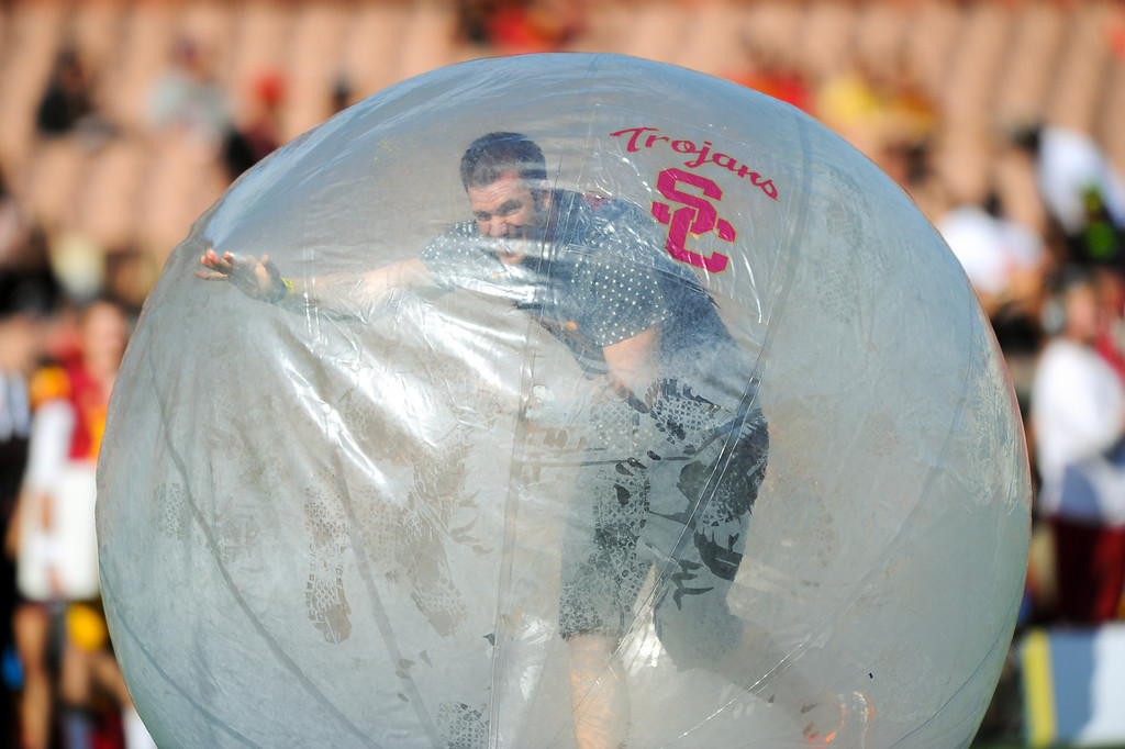 . Halftime entertainment at the USC spring game. (Photo by Michael Owen Baker/L.A. Daily News)