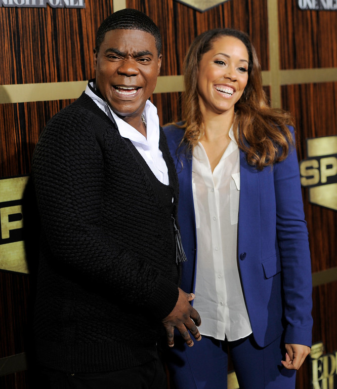 ". Tracy Morgan and his fiance Megan Wollover poses at  ""Eddie Murphy: One Night Only,\"" a celebration of Murphy\'s career at the Saban Theater on Saturday, Nov. 3, 2012, in Beverly Hills, Calif. (Photo by Chris Pizzello/Invision)"