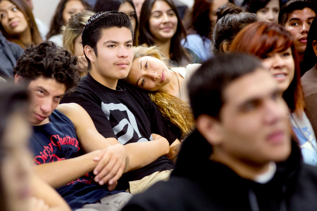 . Students listen to Inge Auerbacher, 78, one of the Holocaust child survivors, tell her stories about the time she spent in the Terezin concentration camp at Sierra High School in Glendora on Tuesday, Nov. 12, 2013. (Photo by Watchara Phomicinda/San Gabriel Valley Tribune)
