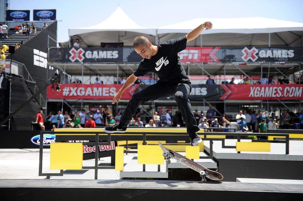 . Youness Amrani during the  X Games Los Angeles SLS Select Series event at LA Live Thursday, August 1, 2013. (Hans Gutknecht/Los Angeles Daily News)