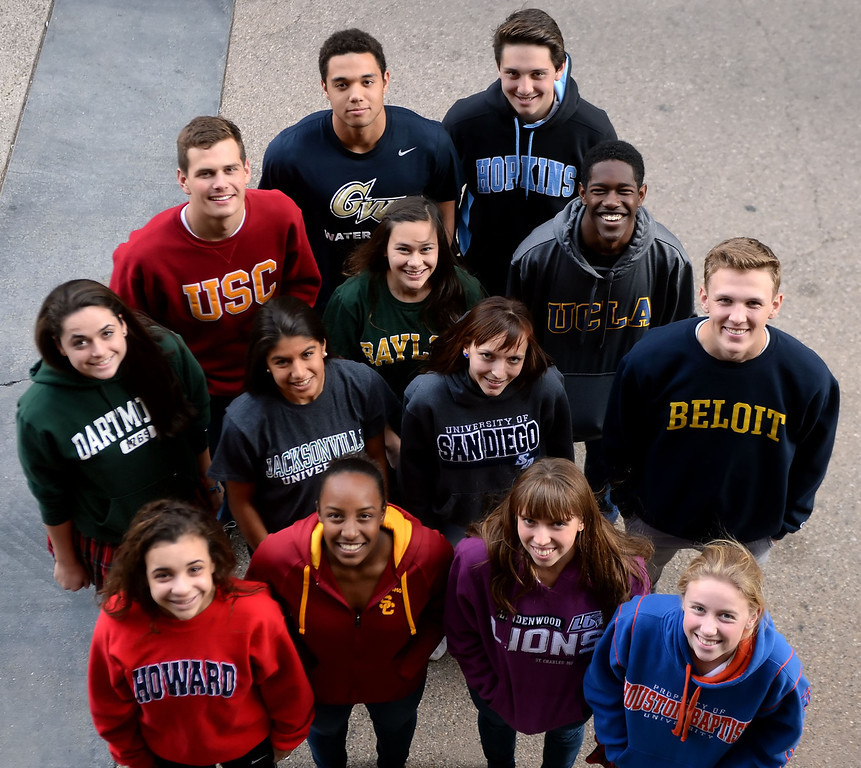 . Front row left to right: Whitney White Westridge School (Howard University), Brock Hudnut Poly High School (USC), Hannah Rae Finchamp Maranatha High School (Lindenwood University),Casey Basso Flintridge Sacred Heart Academy (Houston Baptist University).  Second row: Katie Altmayer Flintridge Sacred Heart Academy (Dartmouth College), Samantha Koemans Pasadena High School (Jacksonville University), Alissa Barraza San Marino High School (University of San Diego), Patrick McGoldrick St. Francis High School (Beloit College). Third row:  Noel Askins Poly High School (USC), Helena Van Loan of South Pasadena High School (Baylor), Joshua Wilson South Pasadena High School (UCLA). Fourth Row: Pierce Deamer South Pasadena High School (George Washington), Adrian Suarez South Pasadena High School (Johns Hopkins University) during signing day for local track and field and soccer athletes in Pasadena, Calif., on Wednesday, Feb. 5, 2014. (Keith Birmingham Pasadena Star-News)
