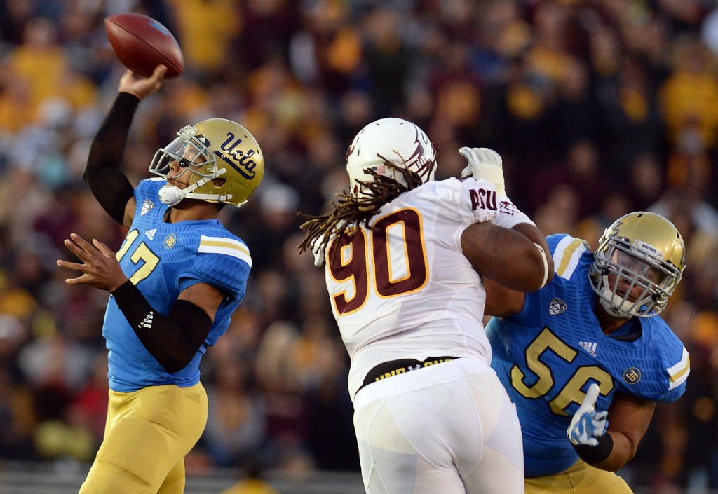 . UCLA�s Brett Hundley #17 passes the ball during their game against Arizona State at the Rose Bowl Saturday November 23, 2013. Arizona State beat UCLA 38-33. (Photos by Hans Gutknecht/Los Angeles Daily News)
