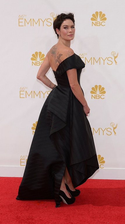 . Lena Headey on the red carpet at the 66th Primetime Emmy Awards show at the Nokia Theatre in Los Angeles, California on Monday August 25, 2014. (Photo by John McCoy / Los Angeles Daily News)