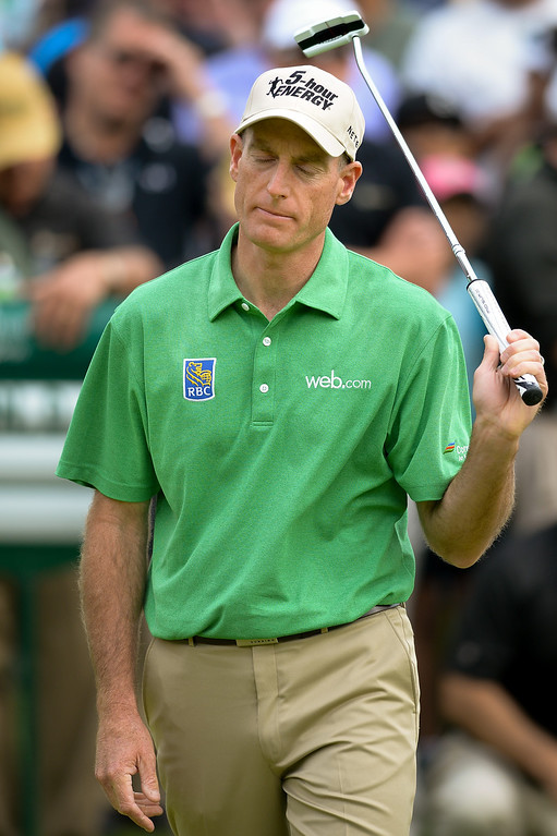 . Jim Furyk reacts after missing a putt on the 18th green during the third round of the Northern Trust Open, Saturday, February 15, 2014, at Riviera Country Club. (Photo by Michael Owen Baker/L.A. Daily News)