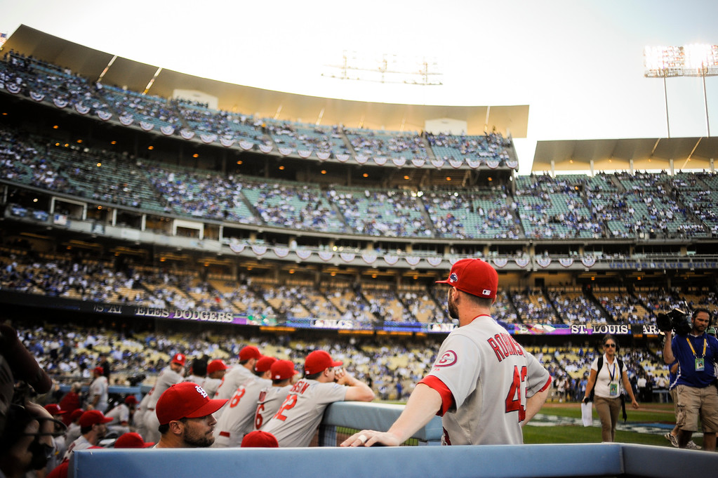 . Cardinals face a sell out crowd at Dodger stadium for game 3 of the NLCS Monday October 14, 2013 ( Photo by Hans Gutknecht/Los Angeles Daily News )