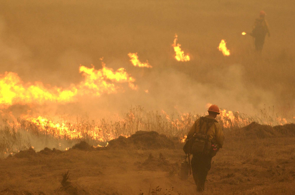 . Members of the Los Padres hot shot crew light a back fire  to attempt to stop the Cedar fire outside Julian, Calif. Tuesday, October 28, 2003. (AP Photo/Tim Tadder)