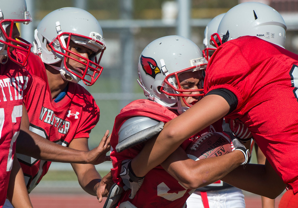 . Whittier High preseason football practice August 27, 2013.   (SGVN/Staff photo by Leo Jarzomb)