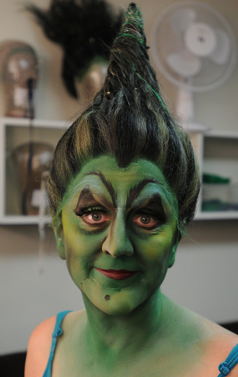 . The final pointy hair look. Jacquelyn Piro Donovan is transformed into the Wicked Witch by makeup artist Michael King. The Wizard of Oz is being staged at the Pantages Theatre in Hollywood, CA. 9/25/2013. photo by (John McCoy/Los Angeles Daily News)