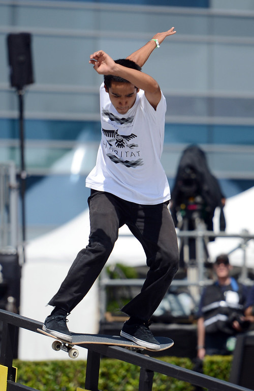 . Will Flores during the  X Games Los Angeles Red Bull Phenom Skateboard Street at LA Live Friday, August 2, 2013. (Hans Gutknecht/Los Angeles Daily News)