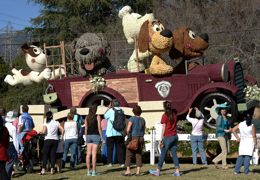 . The La Canada Flintridge float. The 125th Rose Parade\'s Showcase of Floats was staged on Sierra Madre Boulevard between Washington Boulevard and Sierra Madre Villa Avenue, and Washington Boulevard between Sierra Madre Boulevard and Woodlyn Road.  Pasadena, CA January 1, 2014.(John McCoy/Los Angeles Daily News)