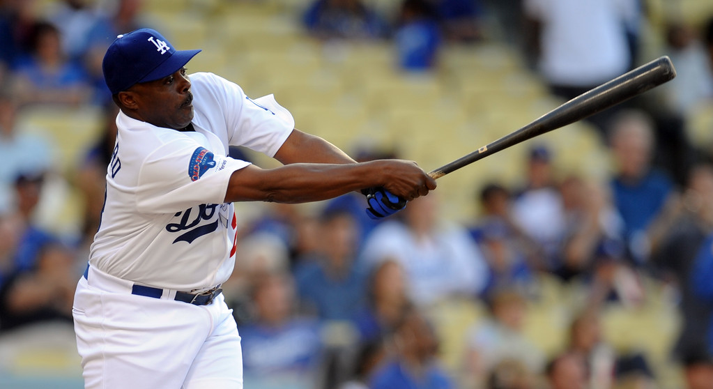 . Former Los Angeles Dodgers Pedro Guerrero during the Old-Timers game prior to a baseball game between the Atlanta Braves and the Los Angeles Dodgers on Saturday, June 8, 2013 in Los Angeles.   (Keith Birmingham/Pasadena Star-News)