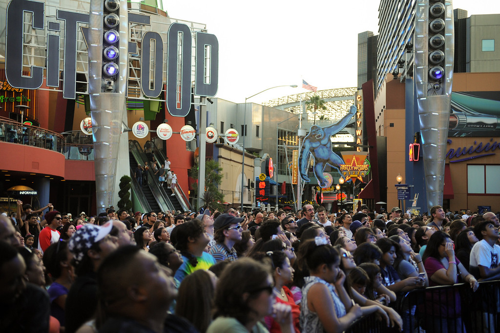 . People wait for a concert at 5 Towers at Universal CityWalk. Friday, July 6, 2013. (Michael Owen Baker/L.A. Daily News)