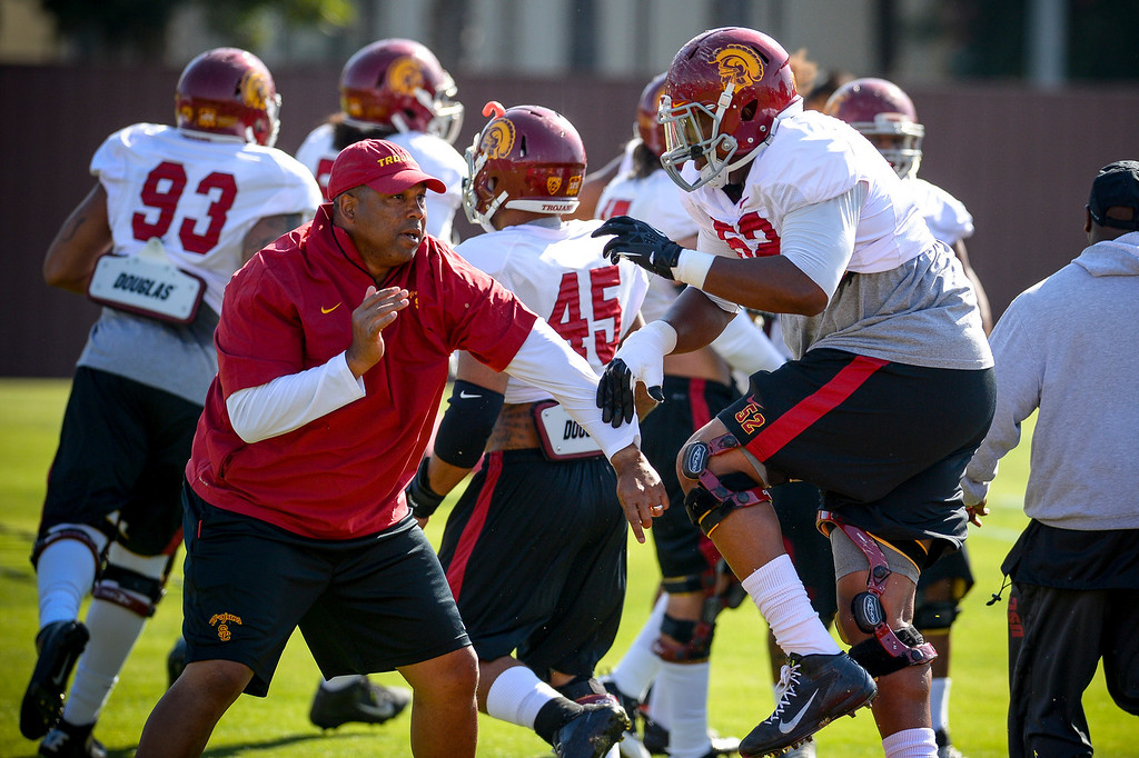 . USC�s Kenny Bigelow runs a drill during spring practice at USC Tuesday, April 15, 2014.  (Photo by David Crane/Los Angeles Daily News.)