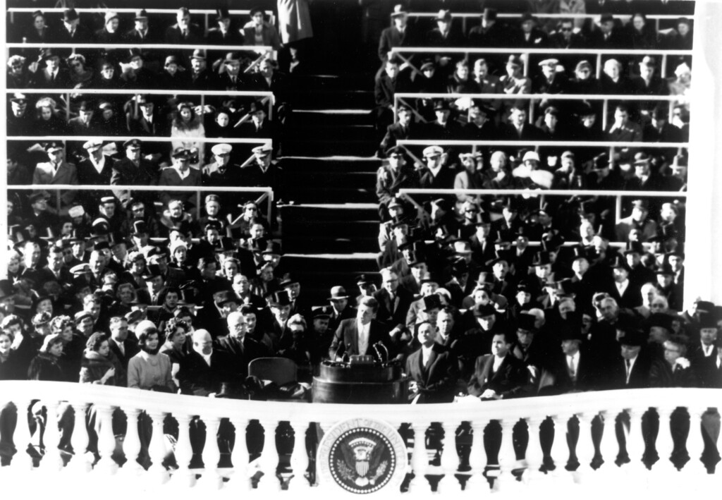 . The President delivering his Inaugural Address, January 20, 1961.   Los Angeles Daily News file photo
